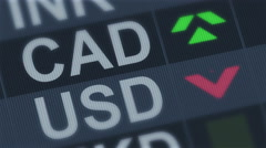 Canadian currency compared to American dollar. Exchange rate fluctuations - stock footage