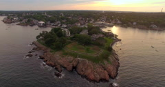 Aerial drone view over Marblehead township, Massachusetts Stock Footage