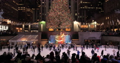 Christmas tree illumination in New York City Rockefeller center - stock footage
