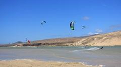 Fuerteventura - Canary Islands -Kitesurfer in action Stock Footage