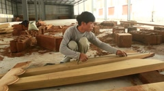 Carpenter was planing wood, Asia Stock Footage