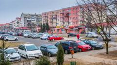 OLSZTYN - FEBRUARY 18 ,2015 (Timelapse view). Jaroty housing Stock Footage