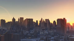 4k Urban sunset,New York,modern business building silhouette. Stock Footage