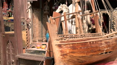 Detail of old vessel model in antique objects store in Doha, Qatar Stock Footage