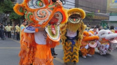 Chinese dragon dancers,Bangkok,King birthday,Thailand Stock Footage