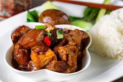 Chinese tofu and meat with vegetable dish ready to eat - stock photo