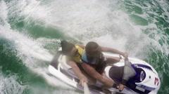 Romantic couple on jetski waverunner, 4k Stock Footage