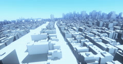 4k abstract urban,flying over 3D Virtual Geometric City Buildings,web tech. Stock Footage