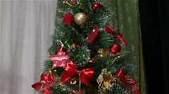 The New green Year tree decorated with toys Stock Footage
