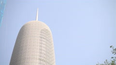 Doha Tower, also known as Burj Qatar, skyscraper in Doha Stock Footage