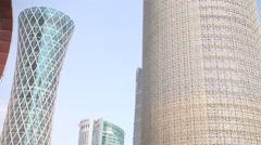 Modern skyscrapers in Doha, Qatar Stock Footage