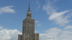 Warsaw, poland, culture science palace, stalin building, 4k Stock Footage
