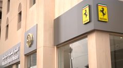 Ferrari store in residential area of The Pearl Qatar, close to Doha Stock Footage