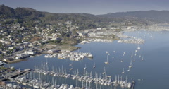 Aerial drone view of sausalito marina, houseboats, yatchs in Marin San francisco Stock Footage