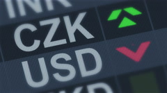 Czech koruna compared to American dollar. Currency exchange rate fluctuations - stock footage