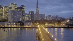 Aerial drone of the san francisco skyline at night embarcadero Stock Footage