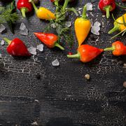 top down of yellow, orange and red hot chili peppers, sea salt, greenery, bla - stock photo