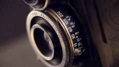 Closeup shot of lens of vintage film camera Stock Footage