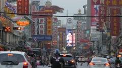 Yaowarat road in chinatown and advertising,Bangkok,Thailand Stock Footage