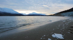 Sunset in mountain and fresh water landscape Stock Footage