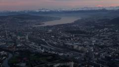 Aerial Shot Over Zurich with Alps, Switzerland Stock Footage