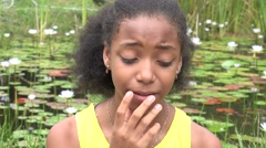 Thinking or Confused Teen Girl Stock Footage