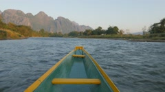 Motorboat trip on Nam Song river,Vang Vieng,Laos Stock Footage