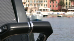 Detail of throttles on a rubber boat  Stock Footage