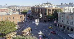 Aerial of San Francisco Trolley Car & Skyline Stock Footage