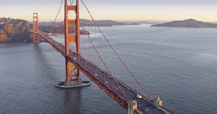 Aerial Golden Gate Bridge, Pulling Back Stock Footage