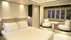 Bright main cabin on luxury yacht  Stock Footage