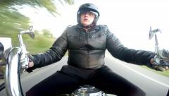 Stock Video Footage of Motorcyclist. Pov original point of view, frontal