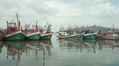Parked old fishing boats Stock Footage