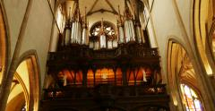 Church organ in old cathedral Stock Footage