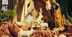 Tilt-down to nativity scene Stock Footage