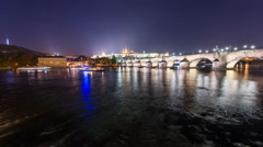 Time Lapse - Charles Bridge in Prag Stock Footage