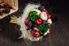 Stock Photo of original bouquet of vegetables and fruits