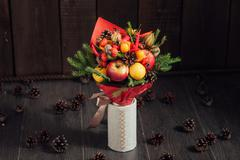 original bouquet of vegetables and fruits - stock photo