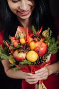 Original bouquet of vegetables and fruits Stock Photos