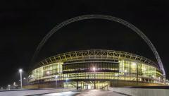 Wembley Stadium at night, panning shoot 4k Stock Footage