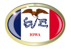 Stock Illustration of Iowa State Flag Oval Button