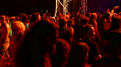 People at a metal festival Stock Footage