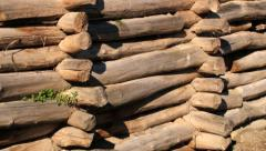 Wooden wall replica of the Iron age fortified settlement in Biskupin, Poland. Stock Footage