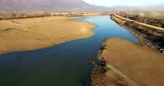 Aerial - Flight over the wetland of Lake Kerkini in northern Greece Stock Footage