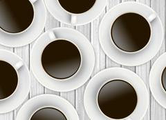 White cups of coffee on wooden background - stock illustration