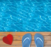 Swimming pool with blue clear water, wooden deck and red paper heart - stock illustration