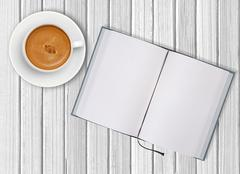 White cup of coffee and opened blank notebook on wooden background Stock Illustration