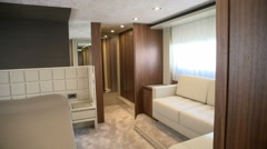 Spacious main cabin on super yacht Stock Footage
