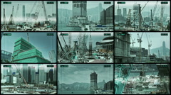 CCTV Camera Monitoring spliscreen operating on construction site in Hong Kong. Stock Footage