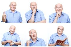 Senior man acting differently for each photo - stock photo